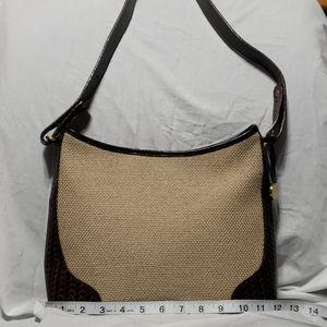 Brahmin tan canvas leather embossed shoulder bag